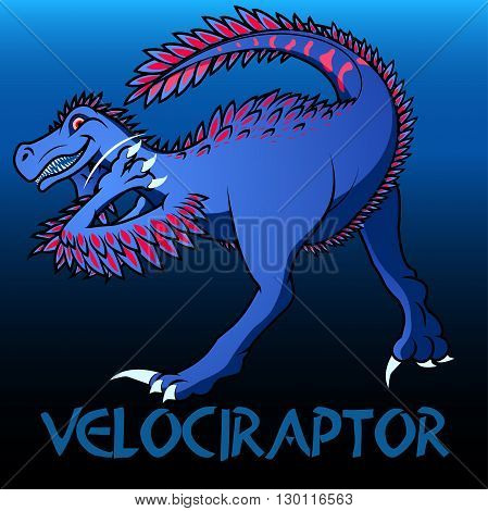 A blue Velociraptor cute character dinosaurs .