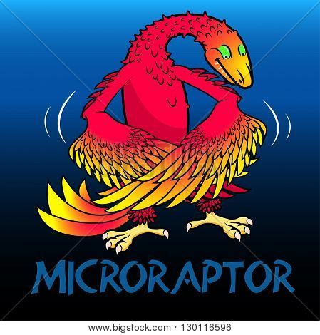 A red Microraptor cute character dinosaurs .