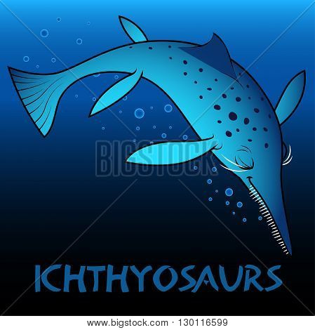 A blue Ichthyosaurs cute character dinosaurs .