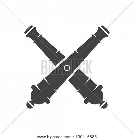 Two Cannons Isolated on white background vector icon in retro style. Can be used for logo or badge.
