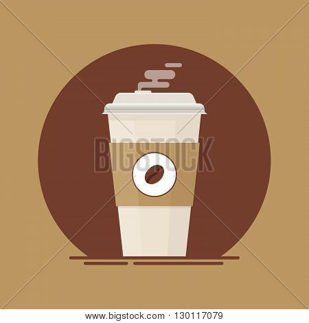 Coffee cup. Coffee cup to go. Paper coffee cup. Fresh coffee cup. Coffee cup vector. Coffee cup isolated on brown background.  Coffee cup in flat style illustration.