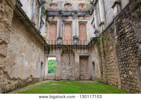View of the Polcenigo castle Pordenone. Italy