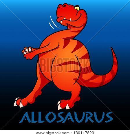 An Allosaurus cute character dinosaurs illustration .