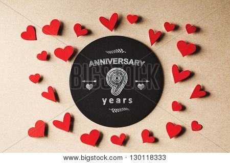 Anniversary 9 Years Message With Small Hearts