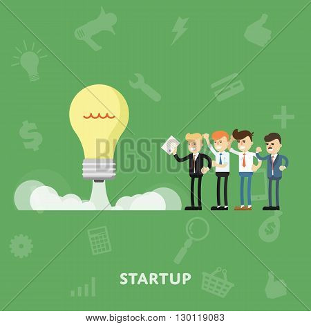 Business concept infographic. Concept for business idea, startup. Business concept of sucsessful. Make a deal. Effective business management. Business concept flat vector illusrtation. Success in business. Abstract business concept. Business concept templ