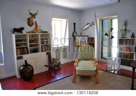 KEY WEST, FL, USA - DEC 20: Writing Studio of Ernest Hemingway House and Museum on Dec 20, 2012 in Key West, Florida, USA. Ernest Hemingway House is Ernest Hemingways home from 1931 to 1939.