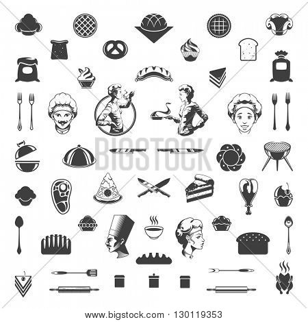 Food Icons Vector Design Elements. Chef Woman and Man Silhouette Isolated On White Background.