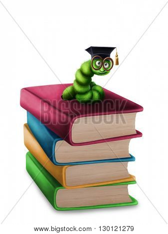 Bookworm with glasses on a stack of books