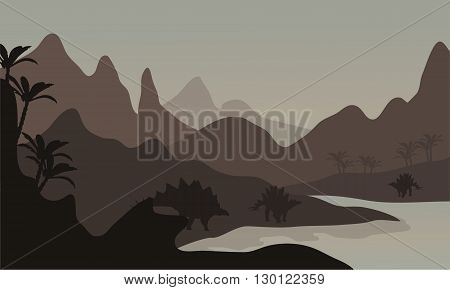 Silhouette of stegosaurus in riverbank with brown backgrounds