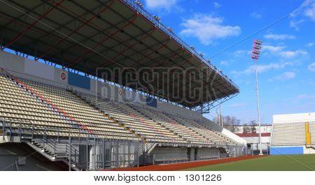 Empty Tribunes On Soccer Stadium