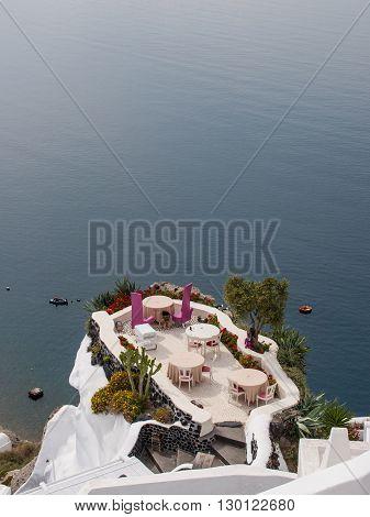 Outdoor sitting in Santorini island, Oia, Greece