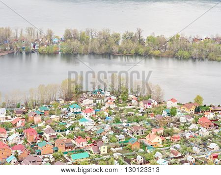 River Flood Aerial View Homes and Park. Aerial view of the residential area of the suburb