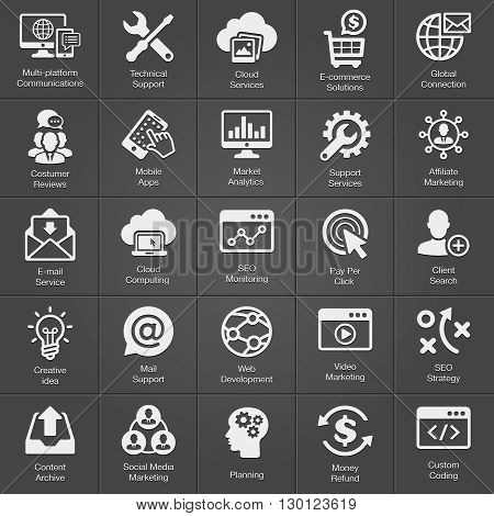 SEO and Development icon set on black. Vector
