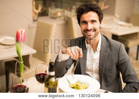 Man having lunch in a restaurant