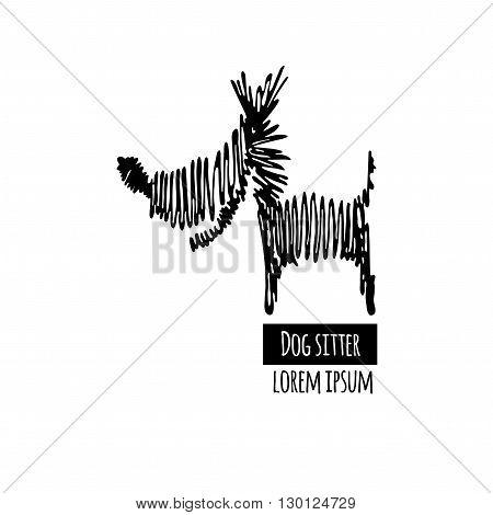 Dog line logo. Black contour dog logotype. Scribble style dog. Scribble dog logo. Isolated dog silhouette. Dog sitter logotype on white background.