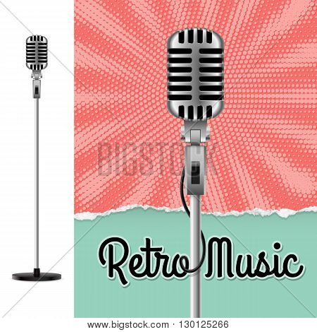 Music Poster with Microphone. Disco Party Flyer or Poster for Musical Event