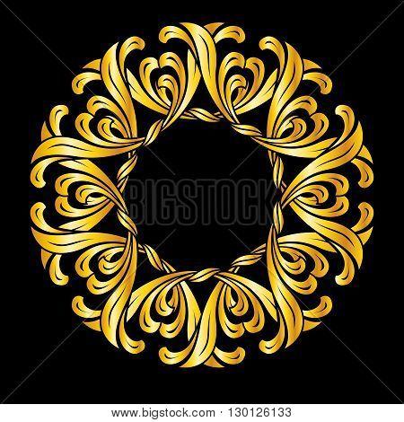 Ornate florid pattern in gold colors. Illustration on black background
