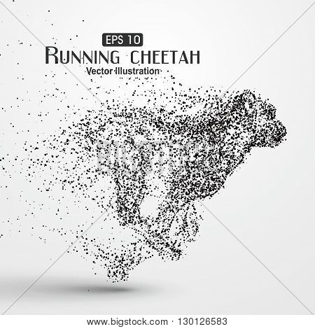 Particle cheetah,particle divergent composition,Many particles,sketch,vector illustration,The moral of hard work ahead.