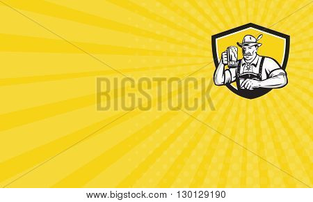 Business card showing illustration of a German Bavarian beer drinker raising beer mug for Oktoberfest toast wearing lederhosen and German hat set inside crest shield done in retro style.