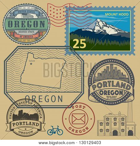 Stamp set with the name and map of Oregon, United States, vector illustration