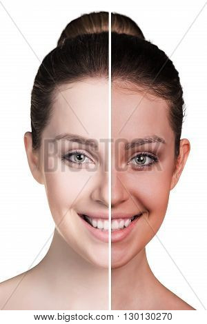 Half of female face with tan before and after isolated on white