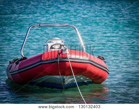 Small  speedboat in the Corralejo harbour, Fuerteventura, Canary Islands, Spain