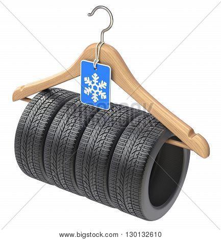 Winter car tyre isolated on wooden hanger  - 3D illustration