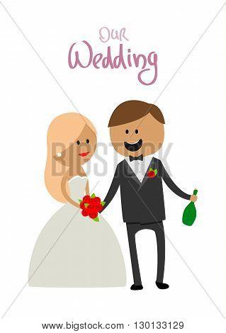 Wedding couple vector illustration. Wedding couple isolated on white background. Wedding couple vector icon illustration. Wedding couple isolated vector. Wedding couple silhouette