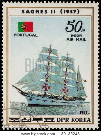 MOSCOW RUSSIA - MAY 17 2016: A stamp printed in DPRK (North Korea) shows image of Portuguese sail training ship
