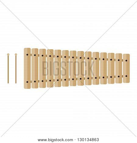 Classical wooden xylophone with mallets isolated on white background. Flat vector illustration