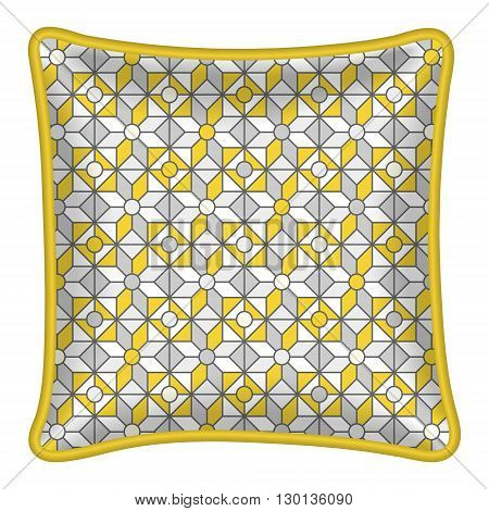 Decorative throw pillow patterned pillowcase. Isolated on white. Vector illustration. Cushion pillow with grey and yellow abstract geometric pattern