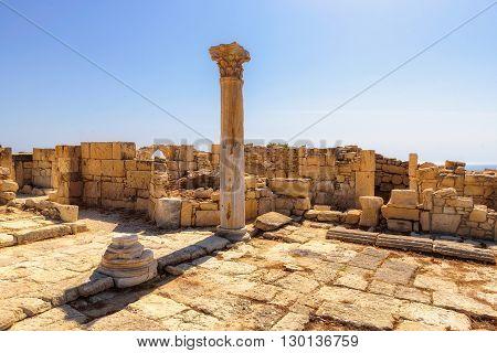 Antique Greek columns on ruins of ancient Kourion. Limassol District. Cyprus