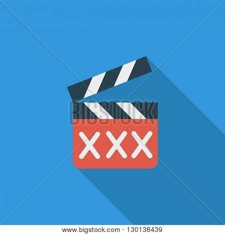 Adult movie clapper icon. Flat vector related icon with long shadow for web and mobile applications. It can be used as - logo, pictogram, icon, infographic element. Vector Illustration.