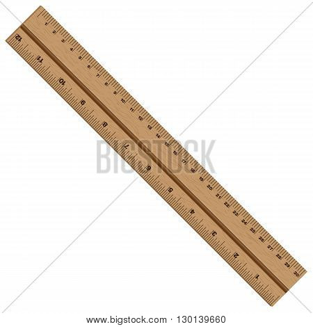 Ruler. Wooden ruler isolated on white background. Ruler Design for wood. Object tool.