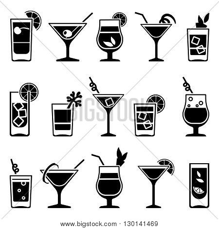 Cocktails and drinks vector black icons. Drink cocktail alcohol and cocktail with straw and fruit illustration