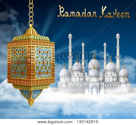 Ramadan Background with mosque in sky and golden arabic lantern. Background for holy month of muslim community Ramadan Kareem EPS 10 contains transparency