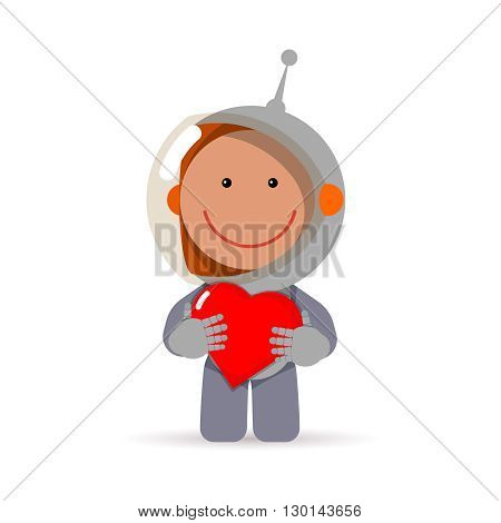 Cute flat style astronaut with heart in his hands. Gretting card eps for valentine's day as cosmic love sign. Spaceman vector illustration isolated on white background.