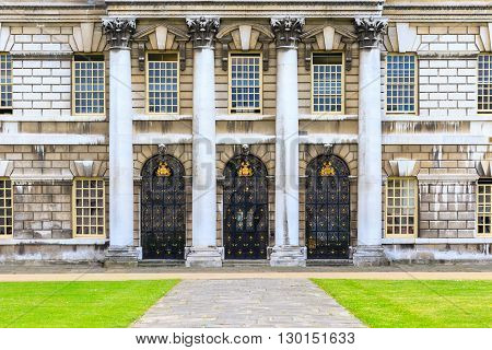 Entrance of Trinity Laban Conservatoire Of Music and Dance in University of Greenwich London