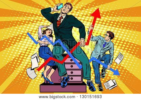 Businessmen and sales schedules pop art retro style. The businessman in the image of Laocoon and his sons. Ancient myths