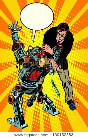 The fight of a man and armed robot pop art retro style. Dangerous robots. Robot criminal with a knife. Artificial intelligence and progress