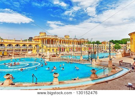 BUDAPEST,  HUNGARY - MAY 05, 2016: Courtyard of Szechenyi Baths Hungarian thermal bath complex and spa treatments.