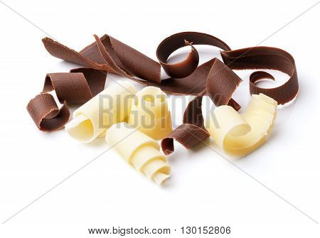 group of dark and white chocolate shavings isolated on white