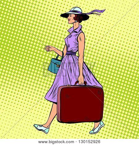 Woman traveler with suitcase pop art retro style. Luggage the passenger journey. Retro journey