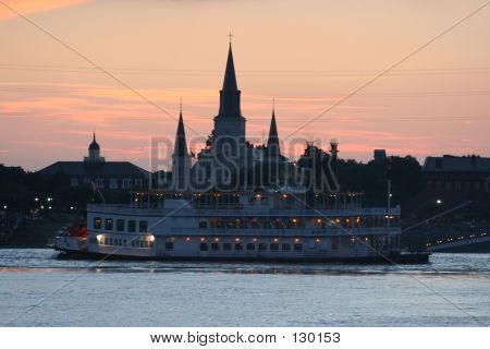 New Orleans Steamboat And Cathedral