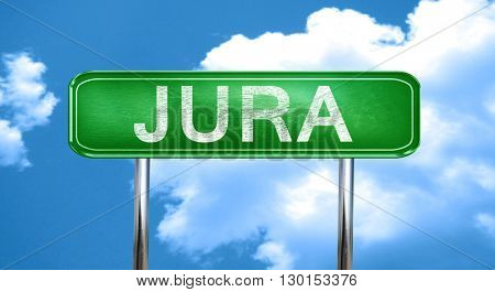 Jura vintage green road sign with highlights