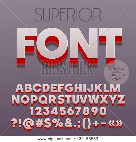 Modern styled 3D superior set of alphabet letters, numbers and punctuation symbols with shadow