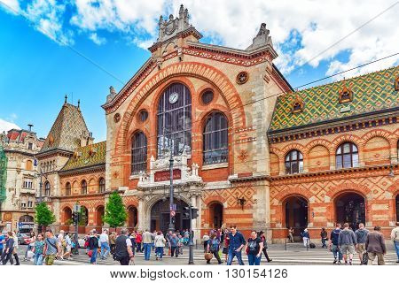 BUDAPEST, HUNGARY-MAY 062016:Great Market Hall or Central Market Hall Hungarian-Nagyvasarcsarnok-largest and oldest indoor market in Budapest Hungary.