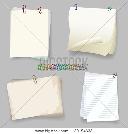 Sheets with paper clip. Paperclip and paper sheet vector illustration