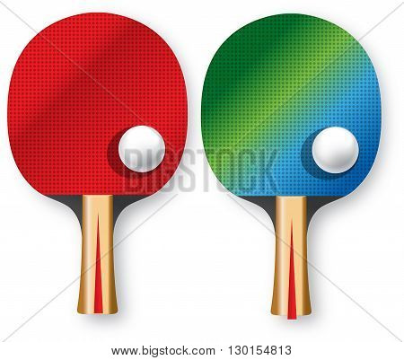 two rackets for table tennis with balls