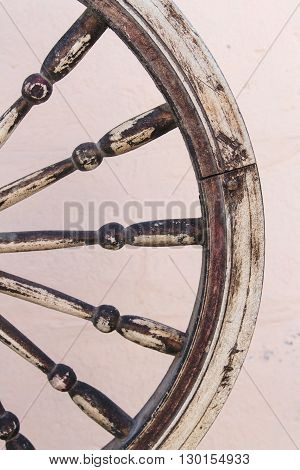 The Part of Brown Old Vintage Nipped Weel,Spindle Texture Background,Part of Distaff